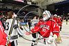 Baldwinsville Bees goalie Jeremy Rappard (30) shakes hands with Syracuse Cougars players after the NYSPHSAA Section III Division I Boys Ice hockey Championship game at the War Memorial Arena in Syracuse, New York on Monday, February 26, 2018. Syracuse won 4-2.
