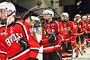 Baldwinsville Bees Tanner McCaffrey (2) shakes hands with Syracuse Cougars players after the NYSPHSAA Section III Division I Boys Ice hockey Championship game at the War Memorial Arena in Syracuse, New York on Monday, February 26, 2018. Syracuse won 4-2.