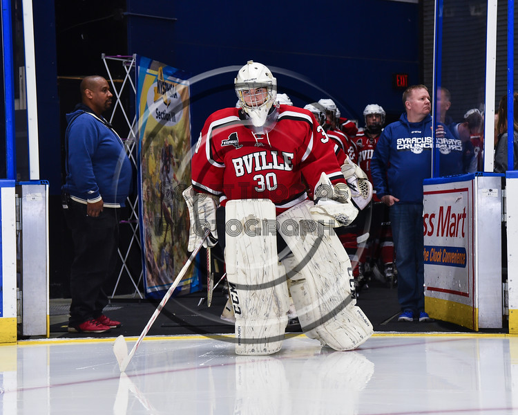 Baldwinsville Bees goalie Jeremy Rappard (30) leads his team on the ice before playing the Syracuse Cougars in the NYSPHSAA Section III Division I Boys Ice hockey Championship game at the War Memorial Arena in Syracuse, New York on Monday, February 26, 2018.