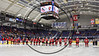 Baldwinsville Bees line up on the Blue Line before playing the Syracuse Cougars in the NYSPHSAA Section III Division I Boys Ice hockey Championship game at the War Memorial Arena in Syracuse, New York on Monday, February 26, 2018.