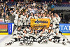 Syracuse Cougars celebrating their NYSPHSAA Section III Division I Boys Ice Hockey Championship at the War Memorial Arena in Syracuse, New York on Monday, February 26, 2018.