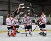 Baldwinsville Bees Isaiah Pompo (5) being introduced for Senior Night at the Lysander Ice Arena in Baldwinsville, New York on Friday, February 9, 2018.