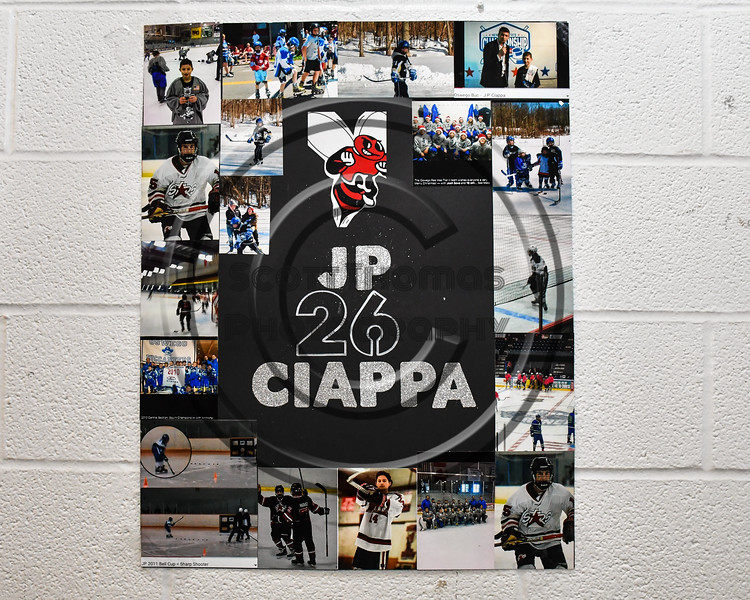 Baldwinsville Bees JP Ciappa (26) poster for Senior Night at the Lysander Ice Arena in Baldwinsville, New York on Friday, February 9, 2018.