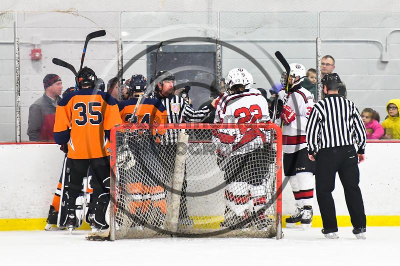 Baldwinsville Bees host the Liverpool Warriors in NYSPHSAA Section III Boys Ice Hockey action at the Lysander Ice Arena in Baldwinsville, New York on Thursday, December 6, 2018. Baldwinsville won 5-2.