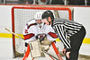 Baldwinsville Bees goalie Tommy Blais (31) has a word with a referee during the game against the Liverpool Warriors at the Lysander Ice Arena in Baldwinsville, New York on Thursday, December 6, 2018. Baldwinsville won 5-2.