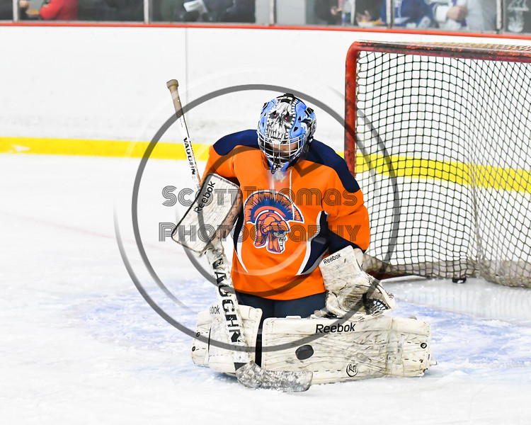 Liverpool Warriors goalie Nicholas Reed )30) takes over in net against the Baldwinsville Bees in NYSPHSAA Section III Boys Ice Hockey action at the Lysander Ice Arena in Baldwinsville, New York on Thursday, December 6, 2018. Baldwinsville won 5-2.