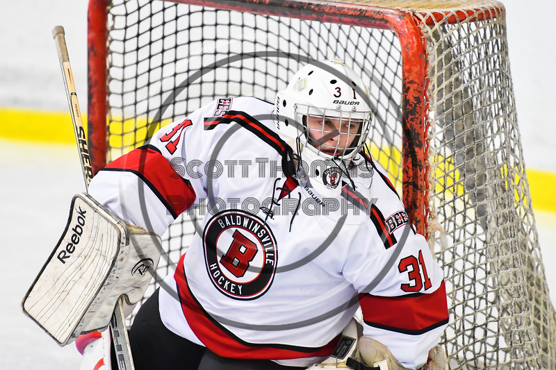 Baldwinsville Bees goalie Tommy Blais (31) before the second period against the Liverpool Warriors in NYSPHSAA Section III Boys Ice Hockey action at the Lysander Ice Arena in Baldwinsville, New York on Thursday, December 6, 2018. Baldwinsville won 5-2.
