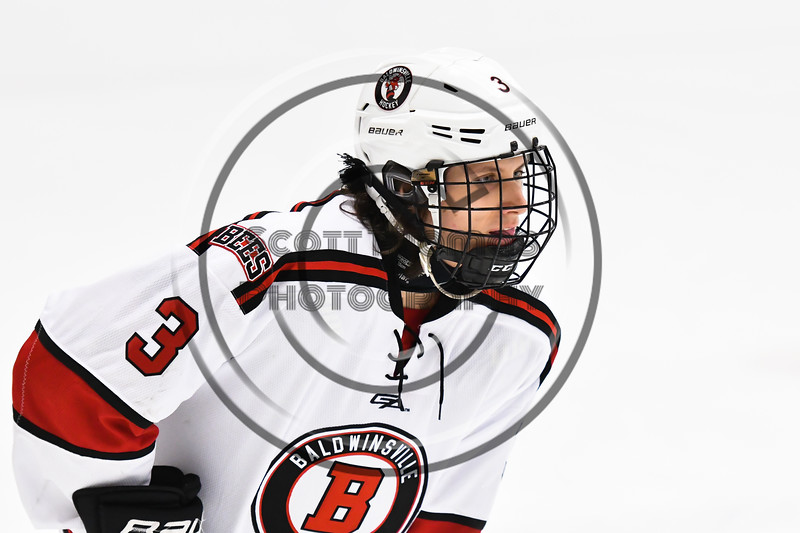 Baldwinsville Bees Ryan Muscatello (3) before a face-off against the Liverpool Warriors in NYSPHSAA Section III Boys Ice Hockey action at the Lysander Ice Arena in Baldwinsville, New York on Thursday, December 6, 2018. Baldwinsville won 5-2.