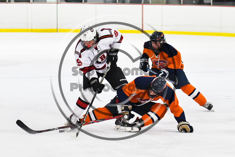 Baldwinsville Bees Michael Marsallo (19) battles for the puck with a Liverpool Warriors player in NYSPHSAA Section III Boys Ice Hockey action at the Lysander Ice Arena in Baldwinsville, New York on Thursday, December 6, 2018. Baldwinsville won 5-2.