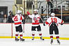Baldwinsville Bees Christian Treichler (33) celebrates his goal against the Liverpool Warriors with Mark Monaco (22) and Michael Marsallo (19) in NYSPHSAA Section III Boys Ice Hockey action at the Lysander Ice Arena in Baldwinsville, New York on Thursday, December 6, 2018. Baldwinsville won 5-2.