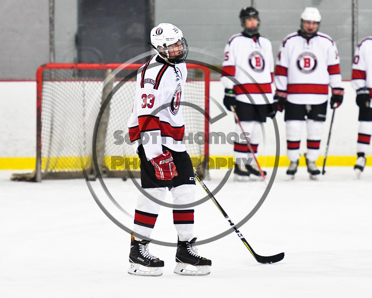 Baldwinsville Bees Christian Treichler (33) being introduced before playing the Liverpool Warriors in a NYSPHSAA Section III Boys Ice Hockey game at the Lysander Ice Arena in Baldwinsville, New York on Thursday, December 6, 2018.
