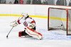 Baldwinsville Bees goalie Tommy Blais (31) is scored upon by Liverpool Warriors Connor Boland (22, not pictured) in NYSPHSAA Section III Boys Ice Hockey action at the Lysander Ice Arena in Baldwinsville, New York on Thursday, December 6, 2018. Baldwinsville won 5-2.