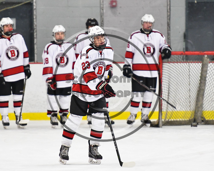 Baldwinsville Bees Braden Lynch (23) being introduced before playing the Liverpool Warriors in a NYSPHSAA Section III Boys Ice Hockey game at the Lysander Ice Arena in Baldwinsville, New York on Thursday, December 6, 2018.
