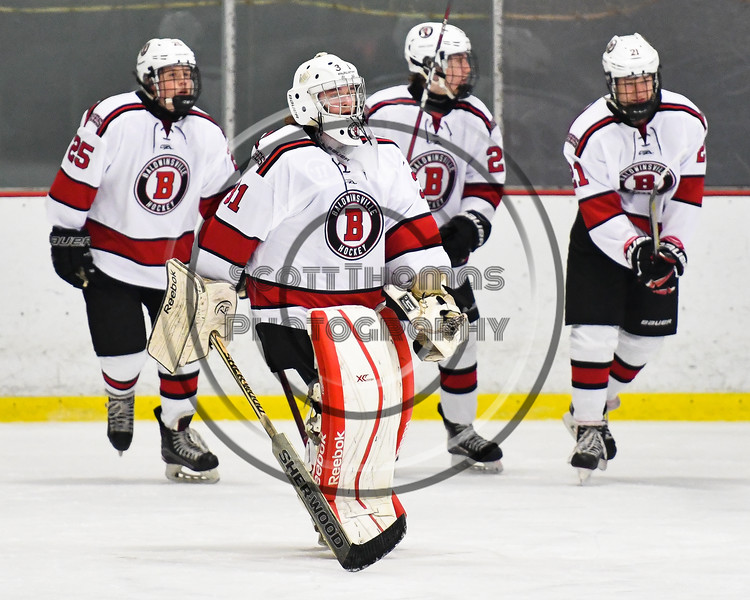 Baldwinsville Bees goalie Tommy Blais (31) being introduced before playing the Liverpool Warriors in a NYSPHSAA Section III Boys Ice Hockey game at the Lysander Ice Arena in Baldwinsville, New York on Thursday, December 6, 2018.