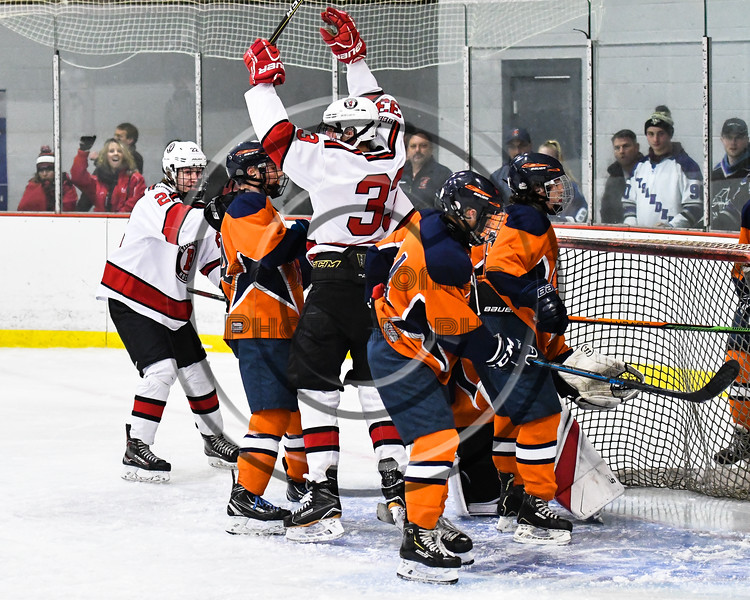 Baldwinsville Bees Christian Treichler (33) celebrates his goal against the Liverpool Warriors in NYSPHSAA Section III Boys Ice Hockey action at the Lysander Ice Arena in Baldwinsville, New York on Thursday, December 6, 2018. Baldwinsville won 5-2.