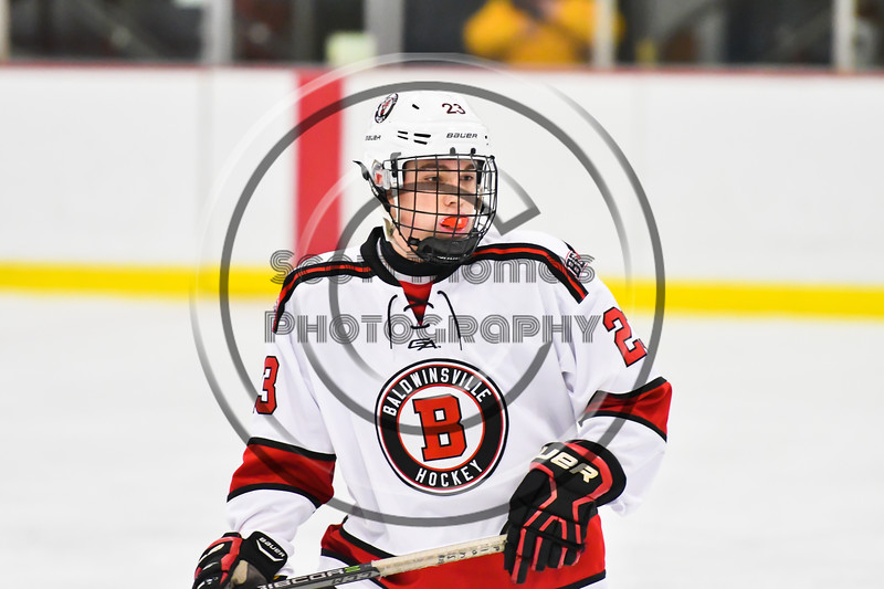 Baldwinsville Bees Braden Lynch (23) on the ice against the Liverpool Warriors in NYSPHSAA Section III Boys Ice Hockey action at the Lysander Ice Arena in Baldwinsville, New York on Thursday, December 6, 2018. Baldwinsville won 5-2.