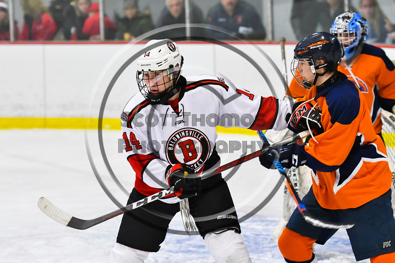 Baldwinsville Bees Nick Glamos (14) playing against the Liverpool Warriors in NYSPHSAA Section III Boys Ice Hockey action at the Lysander Ice Arena in Baldwinsville, New York on Thursday, December 6, 2018. Baldwinsville won 5-2.