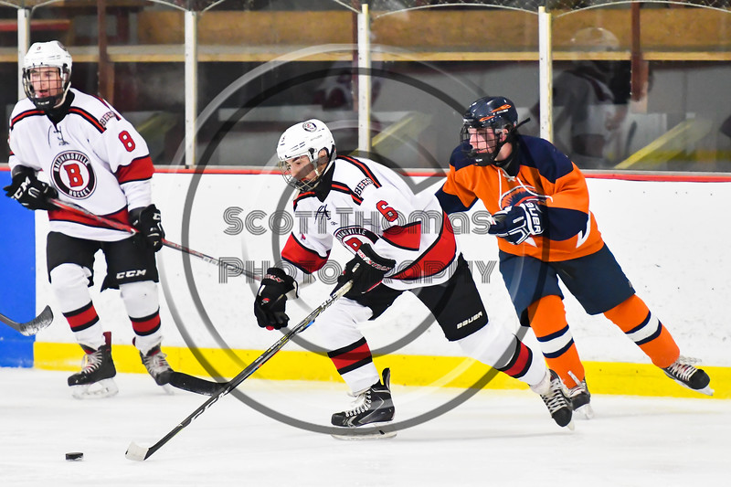 Baldwinsville Bees Michael Carni (6) skating with the puck against the Liverpool Warriors in NYSPHSAA Section III Boys Ice Hockey action at the Lysander Ice Arena in Baldwinsville, New York on Thursday, December 6, 2018. Baldwinsville won 5-2.