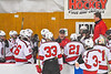 Baldwinsville Bees Head Coach Mark Lloyd talks to his team during a time out against the Liverpool Warriors in NYSPHSAA Section III Boys Ice Hockey action at the Lysander Ice Arena in Baldwinsville, New York on Thursday, December 6, 2018. Baldwinsville won 5-2.