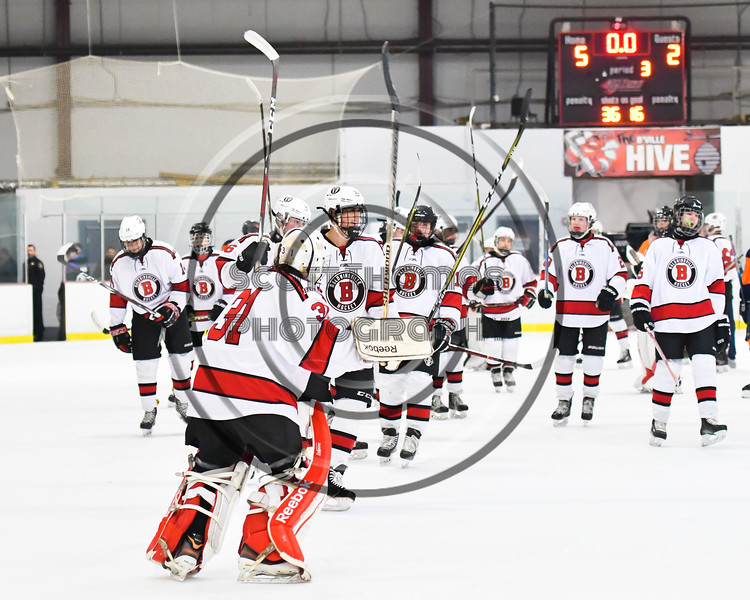 Baldwinsville Bees players salute the fans after defeating the Liverpool Warriors in NYSPHSAA Section III Boys Ice Hockey game at the Lysander Ice Arena in Baldwinsville, New York on Thursday, December 6, 2018. Baldwinsville won 5-2.