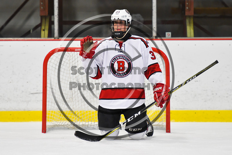 Baldwinsville Bees Christian Treichler (33) and his teammates hosted the Lysander Mites during an Intermission of a game at the Lysander Ice Arena in Baldwinsville, New York on Thursday, December 6, 2018.