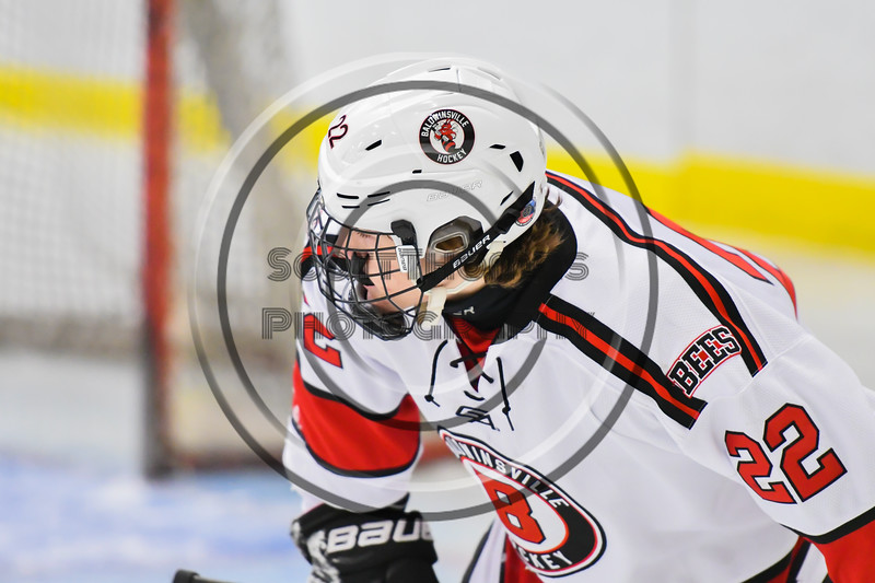 Baldwinsville Bees Mark Monaco (22) before a face-off against the Liverpool Warriors in NYSPHSAA Section III Boys Ice Hockey action at the Lysander Ice Arena in Baldwinsville, New York on Thursday, December 6, 2018. Baldwinsville won 5-2.