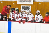 Baldwinsville Bees bench during the NYSPHSAA Section III Boys Ice Hockey game against the Liverpool Warriors at the Lysander Ice Arena in Baldwinsville, New York on Thursday, December 6, 2018. Baldwinsville won 5-2.