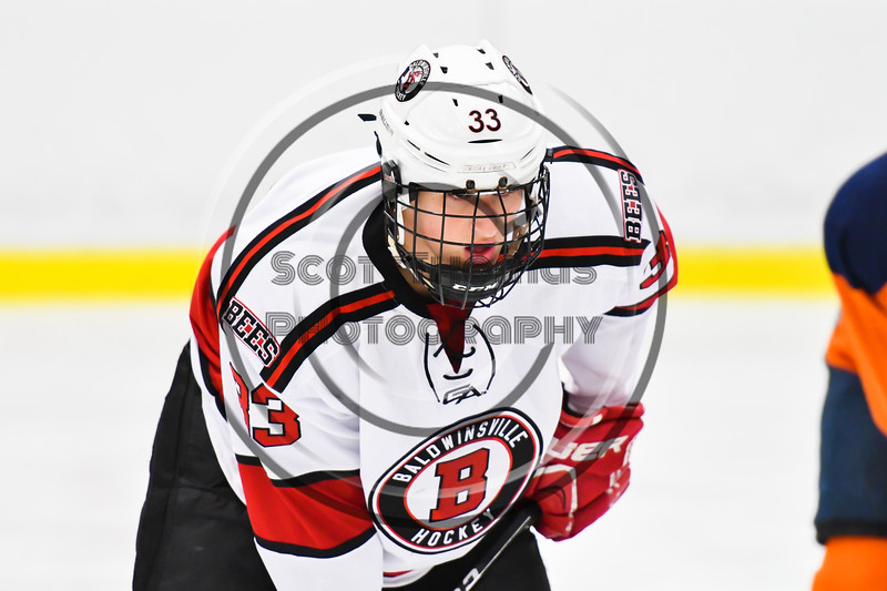 Baldwinsville Bees Christian Treichler (33) before a face-off against the Liverpool Warriors in NYSPHSAA Section III Boys Ice Hockey action at the Lysander Ice Arena in Baldwinsville, New York on Thursday, December 6, 2018. Baldwinsville won 5-2.