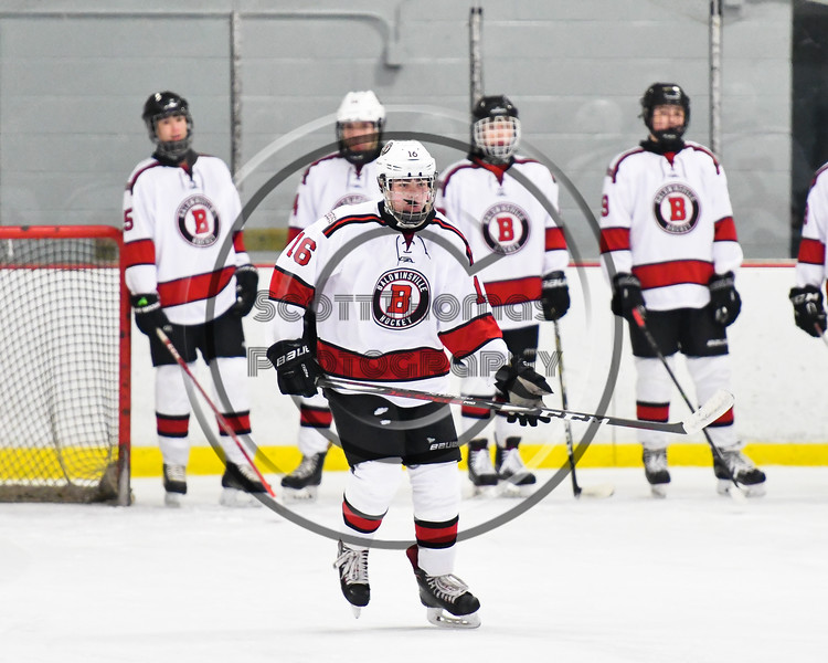 Baldwinsville Bees Luke Hoskin (16) being introduced before playing the Liverpool Warriors in a NYSPHSAA Section III Boys Ice Hockey game at the Lysander Ice Arena in Baldwinsville, New York on Thursday, December 6, 2018.