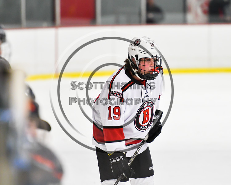 Baldwinsville Bees Michael Marsallo (19) before a face-off against the Liverpool Warriors in NYSPHSAA Section III Boys Ice Hockey action at the Lysander Ice Arena in Baldwinsville, New York on Thursday, December 6, 2018. Baldwinsville won 5-2.