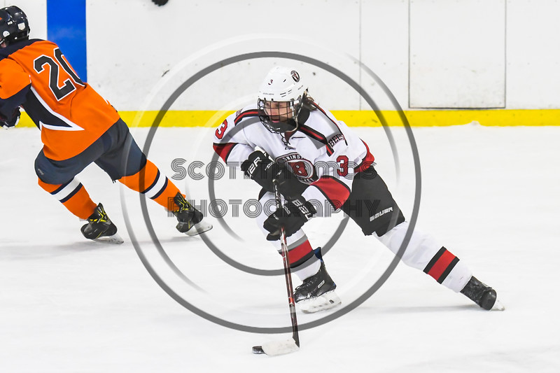 Baldwinsville Bees Ryan Muscatello (3) skating with the puck against the Liverpool Warriors in NYSPHSAA Section III Boys Ice Hockey action at the Lysander Ice Arena in Baldwinsville, New York on Thursday, December 6, 2018. Baldwinsville won 5-2.