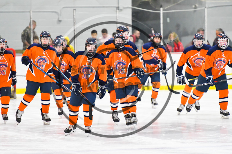 Liverpool Warriors players break their huddle before the start of the second period against the Baldwinsville Bees in NYSPHSAA Section III Boys Ice Hockey action at the Lysander Ice Arena in Baldwinsville, New York on Thursday, December 6, 2018. Baldwinsville won 5-2.
