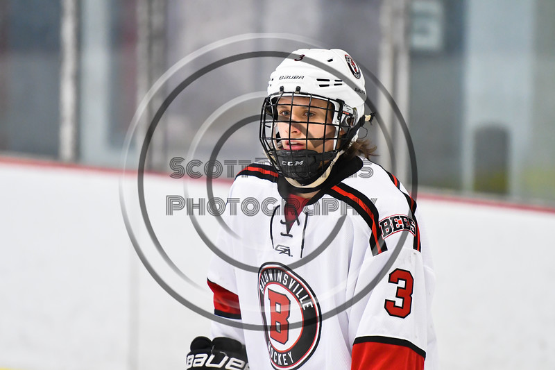 Baldwinsville Bees Ryan Muscatello (3) playing against the Liverpool Warriors in NYSPHSAA Section III Boys Ice Hockey action at the Lysander Ice Arena in Baldwinsville, New York on Thursday, December 6, 2018. Baldwinsville won 5-2.