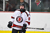 Baldwinsville Bees Matt Carner (9) on the ice against the Liverpool Warriors in NYSPHSAA Section III Boys Ice Hockey action at the Lysander Ice Arena in Baldwinsville, New York on Thursday, December 6, 2018. Baldwinsville won 5-2.