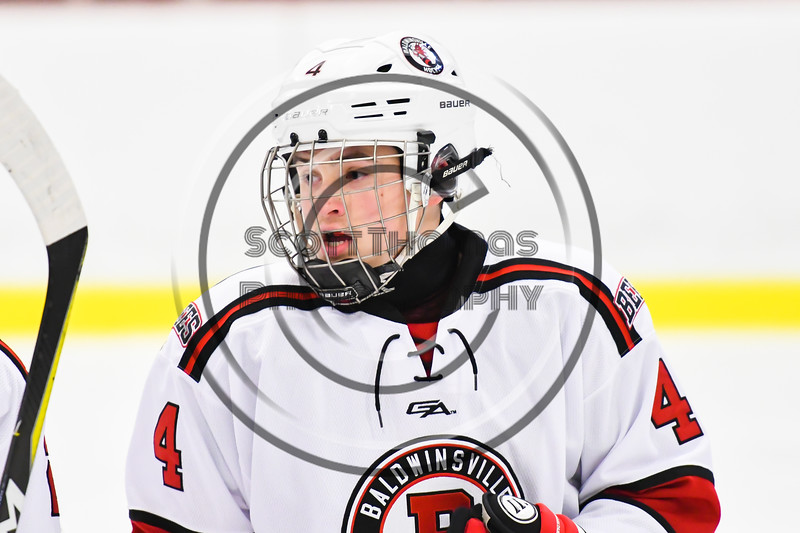 Baldwinsville Bees Quinn Sweeney (4) playing against the Liverpool Warriors in NYSPHSAA Section III Boys Ice Hockey action at the Lysander Ice Arena in Baldwinsville, New York on Thursday, December 6, 2018. Baldwinsville won 5-2.