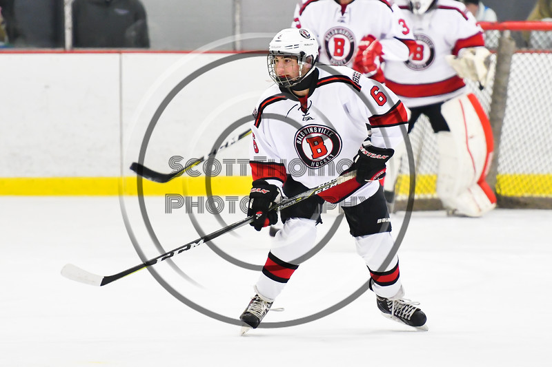 Baldwinsville Bees Michael Carni (6) on the ice against the Liverpool Warriors in NYSPHSAA Section III Boys Ice Hockey action at the Lysander Ice Arena in Baldwinsville, New York on Thursday, December 6, 2018. Baldwinsville won 5-2.
