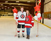 Baldwinsville Bees Mark Monaco (22) honors Mrs. Morgan on Teacher Appreciation Night at the Lysander Ice Arena in Baldwinsville, New York on Tuesday, December 18, 2018.