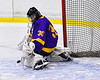 CBA/JD Brothers goalie Joe Salvador (30) makes a save against the Baldwinsville Bees in NYSPHSAA Section III Boys Ice Hockey action at the Lysander Ice Arena in Baldwinsville, New York on Tuesday, December 18, 2018. Baldwinsville won 3-1.