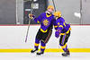 CBA/JD Brothers Simon Lessor (3) celebrates his goal against the Baldwinsville Bees in NYSPHSAA Section III Boys Ice Hockey action at the Lysander Ice Arena in Baldwinsville, New York on Tuesday, December 18, 2018. Baldwinsville won 3-1.
