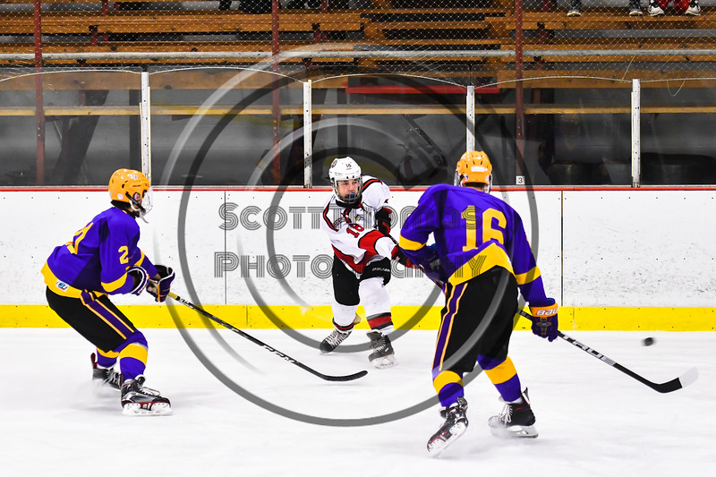 Baldwinsville Bees Matt Speelman (18) fires the puck at the CBA/JD Brothers net in NYSPHSAA Section III Boys Ice Hockey action at the Lysander Ice Arena in Baldwinsville, New York on Tuesday, December 18, 2018. Baldwinsville won 3-1.