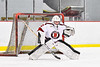 Baldwinsville Bees goalie Bradley O'Neill (30) warming up before playing the CBA/JD Brothers in a NYSPHSAA Section III Boys Ice Hockey game at the Lysander Ice Arena in Baldwinsville, New York on Tuesday, December 18, 2018.