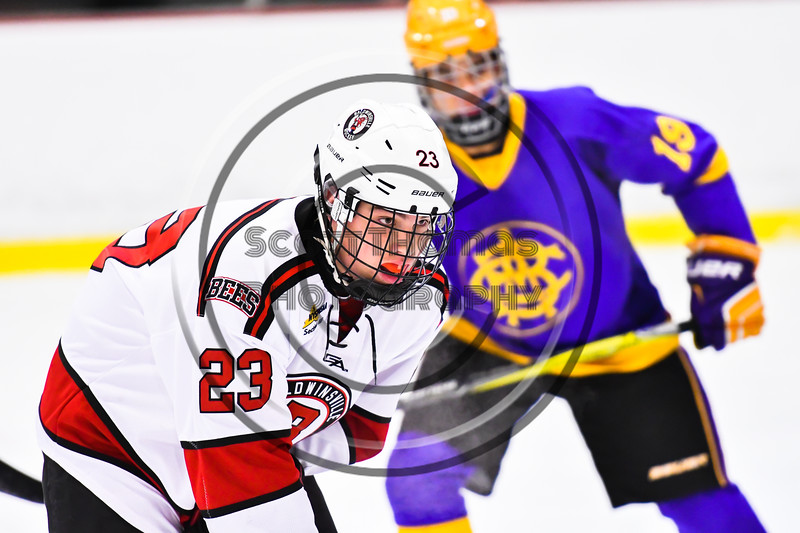 Baldwinsville Bees Braden Lynch (23) before a face-off against the CBA/JD Brothers in NYSPHSAA Section III Boys Ice Hockey action at the Lysander Ice Arena in Baldwinsville, New York on Tuesday, December 18, 2018. Baldwinsville won 3-1.