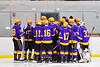 CBA/JD Brothers players huddle up before playing the Baldwinsville Bees in the second period of a NYSPHSAA Section III Boys Ice Hockey game at the Lysander Ice Arena in Baldwinsville, New York on Tuesday, December 18, 2018. Baldwinsville won 3-1.
