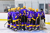 CBA/JD Brothers huddle up before the start of the third period against the Baldwinsville Bees in a NYSPHSAA Section III Boys Ice Hockey game at the Lysander Ice Arena in Baldwinsville, New York on Tuesday, December 18, 2018. Baldwinsville won 3-1.
