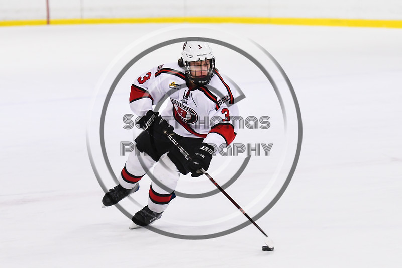 Baldwinsville Bees Ryan Muscatello (3) with the puck against the CBA/JD Brothers in NYSPHSAA Section III Boys Ice Hockey action at the Lysander Ice Arena in Baldwinsville, New York on Tuesday, December 18, 2018. Baldwinsville won 3-1.