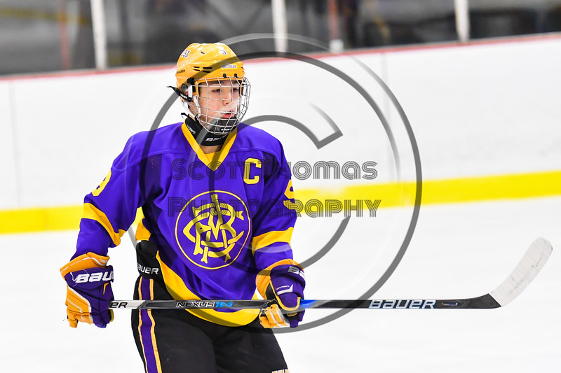 CBA/JD Brothers Kodi Dotterer (9) on the ice against the Baldwinsville Bees in NYSPHSAA Section III Boys Ice Hockey action at the Lysander Ice Arena in Baldwinsville, New York on Tuesday, December 18, 2018. Baldwinsville won 3-1.