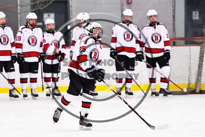 Baldwinsville Bees Jamey Natoli (25) being introduced before playing the CBA/JD Brothers in a NYSPHSAA Section III Boys Ice Hockey game at the Lysander Ice Arena in Baldwinsville, New York on Tuesday, December 18, 2018.
