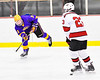 CBA/JD Brothers Simon Lessor (3) passes the puck against Baldwinsville Bees Braden Lynch (23) in NYSPHSAA Section III Boys Ice Hockey action at the Lysander Ice Arena in Baldwinsville, New York on Tuesday, December 18, 2018. Baldwinsville won 3-1.