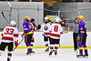 Baldwinsville Bees Mark Monaco (22) celebrates his goal against the CBA/JD Brothers in NYSPHSAA Section III Boys Ice Hockey action at the Lysander Ice Arena in Baldwinsville, New York on Tuesday, December 18, 2018. Baldwinsville won 3-1.