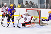 Baldwinsville Bees goalie Tommy Blais (31) makes a save against the CBA/JD Brothers in NYSPHSAA Section III Boys Ice Hockey action at the Lysander Ice Arena in Baldwinsville, New York on Tuesday, December 18, 2018. Baldwinsville won 3-1.
